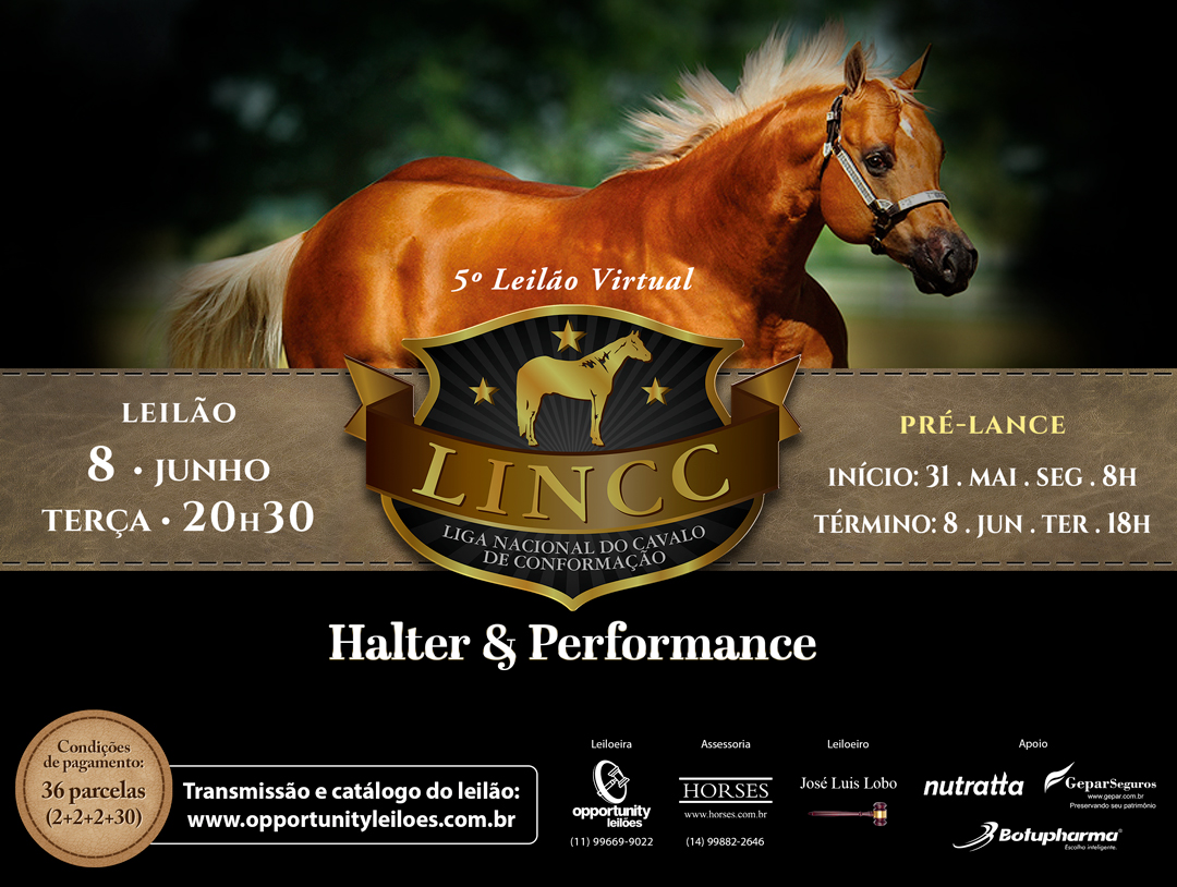 5º LEILÃO VIRTUAL LINCC - HALTER & PERFORMANCE