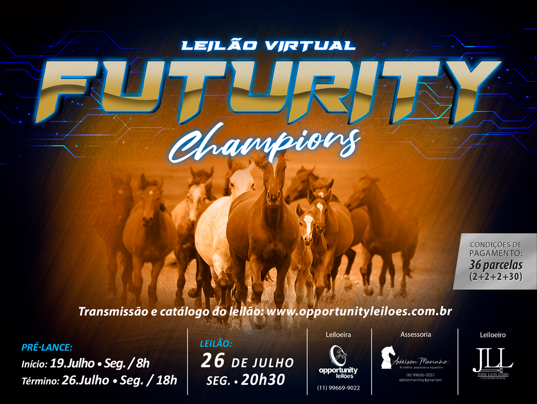 LEILÃO VIRTUAL FUTURITY CHAMPIONS