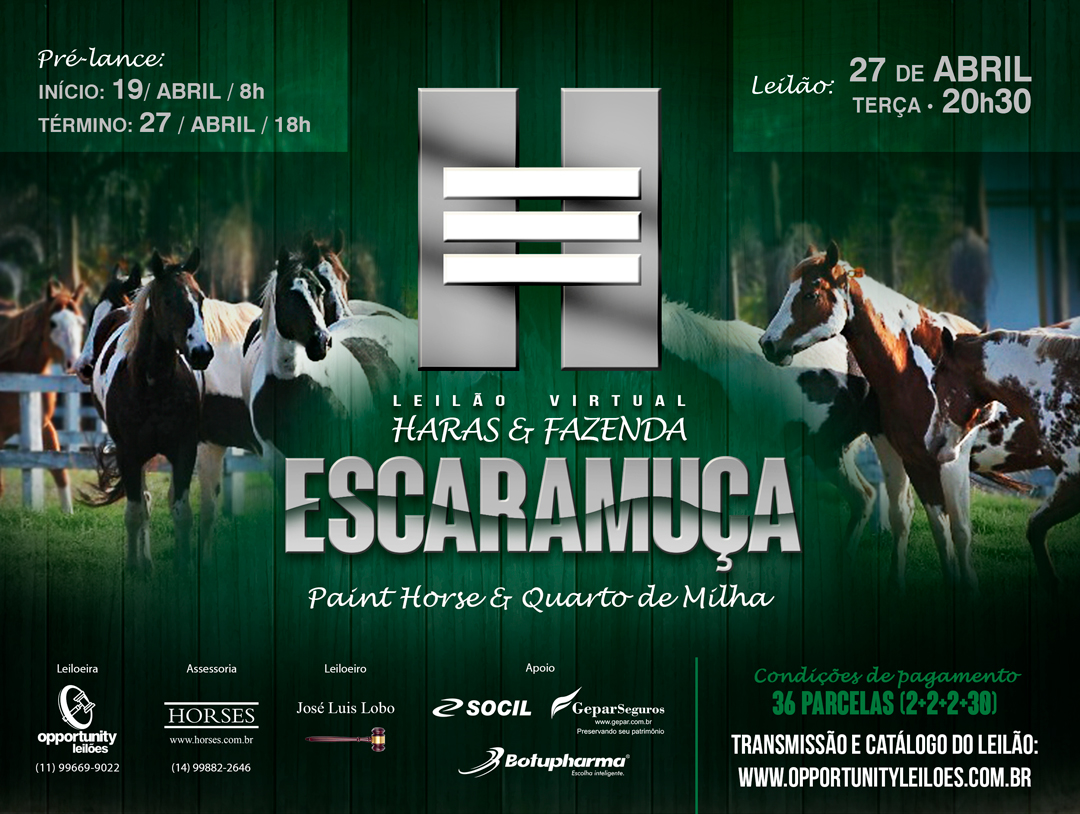 LEILÃO VIRTUAL HARAS & FAZENDA ESCARAMUÇA